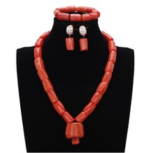 Купить с кэшбэком 4ujewelry Jewellery Set African 100% Original Coral Beads Jewelry Set for Women With 3 cm Coral middle Necklace Set Wedding 2018