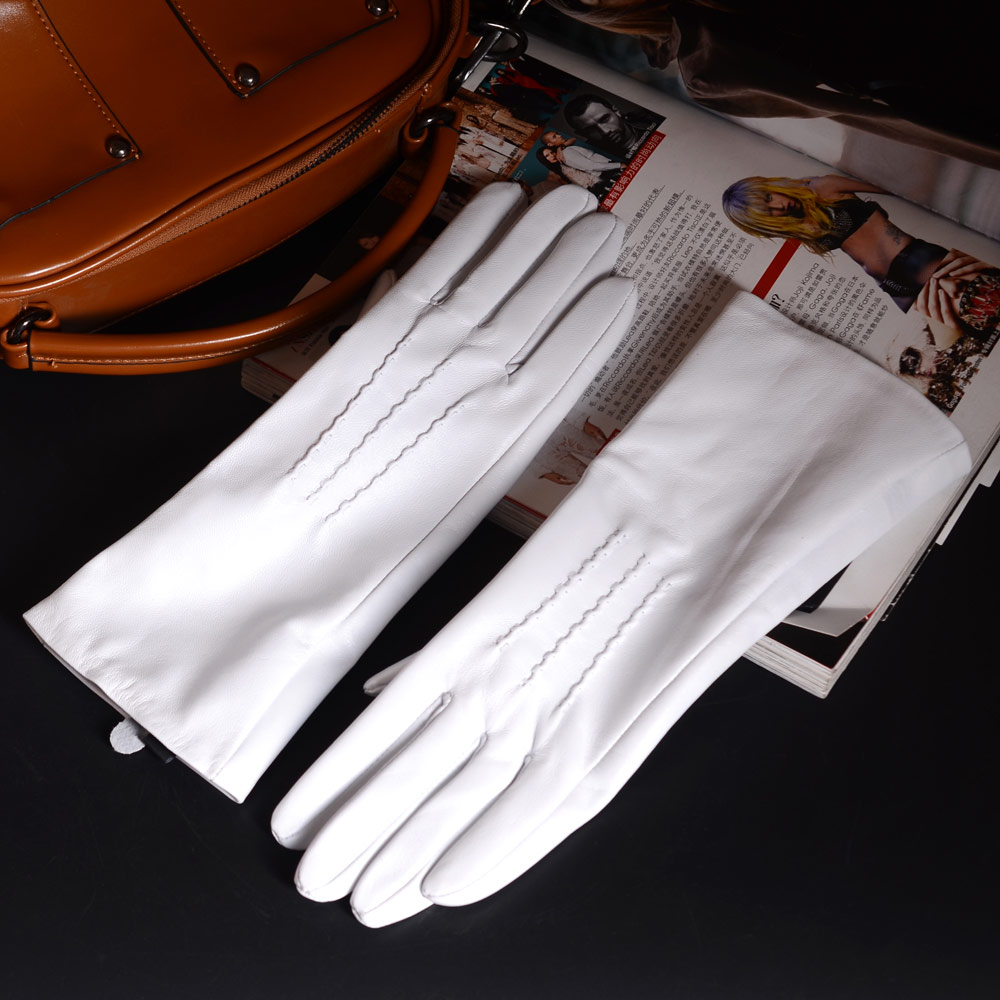 """30cm 12"""" Women's Ladies Genuine leather Raised Stitching White Middle long gloves Party Evening gloves Customized"""
