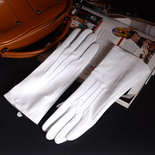 """30cm 12 """"kadın bayanlar hakiki deri yükseltilmiş dikiş beyaz orta uzun eldiven parti akşam eldivenleri özelleştirilmiş"""