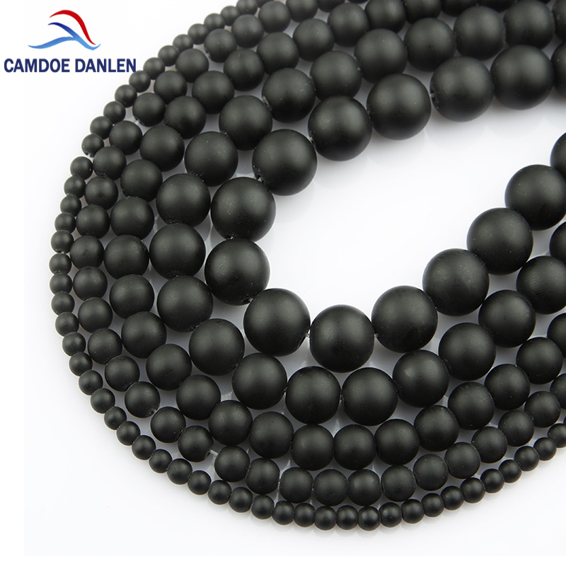 4/6/8/10/12mm Black Dull Polish Matte Onyx Natural Stone Round Beads For Jewelry Making DIY Charms Necklace Bracelet 15'' #MN25