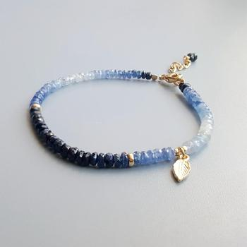 Blue Sapphire Bracelet with Gold Plated 925 Silver Leaf 1