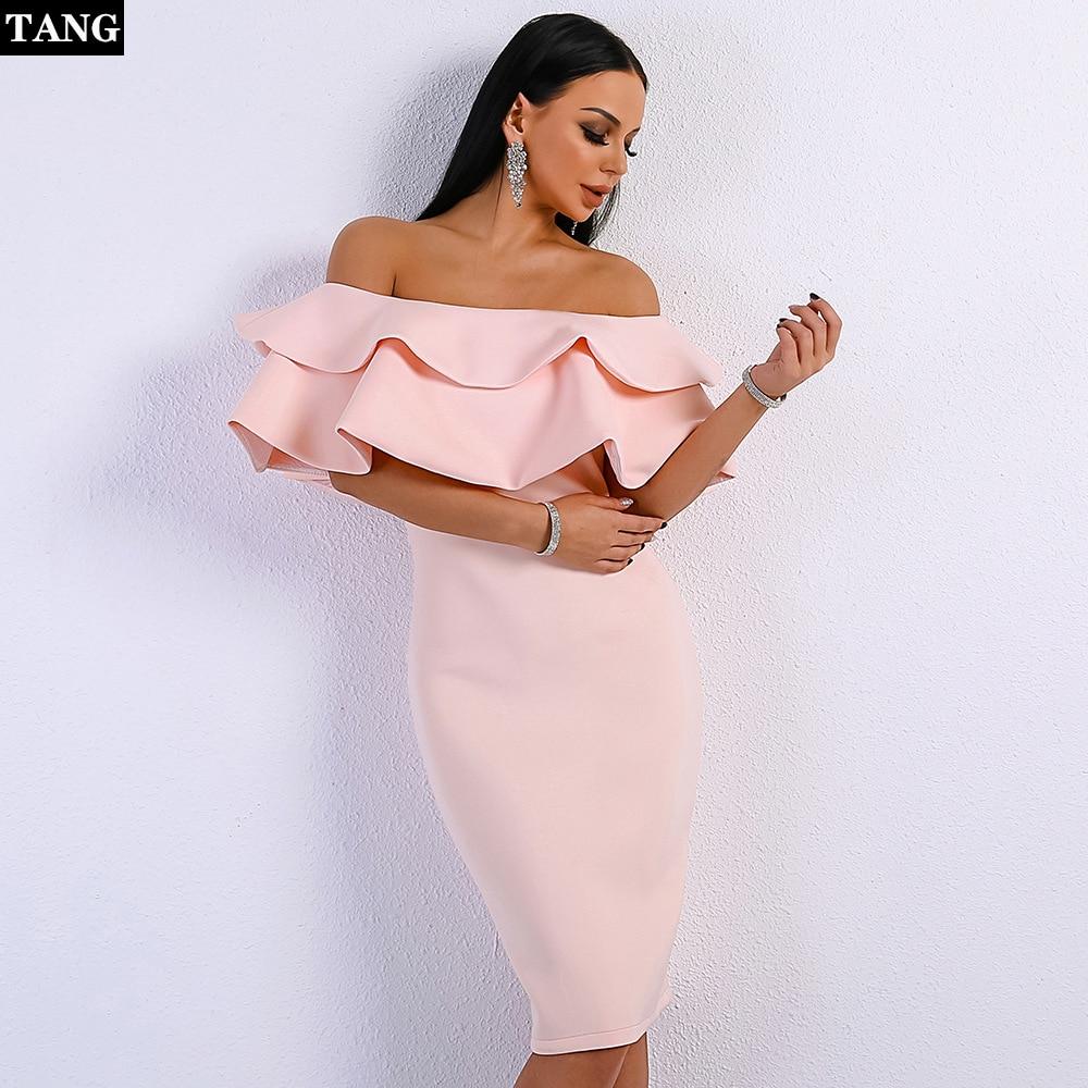 Tang été moulante Bandage robe de soirée femmes Vestido 2019 bretelles noir rose Club robes