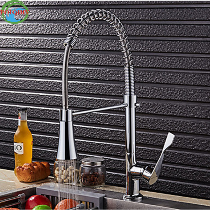 все цены на High Quality Brass Trumpet Spout Deck Mounted Polished Chrome Kitchen Sink Mixer Taps Single Handle with Hot and Cold Water