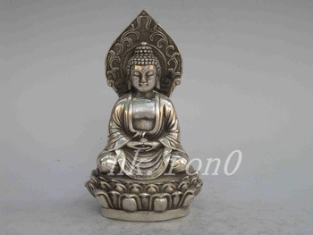 Elaborate Chinese Collection of vintage old-type manual Tibet Silver - Buddha statue