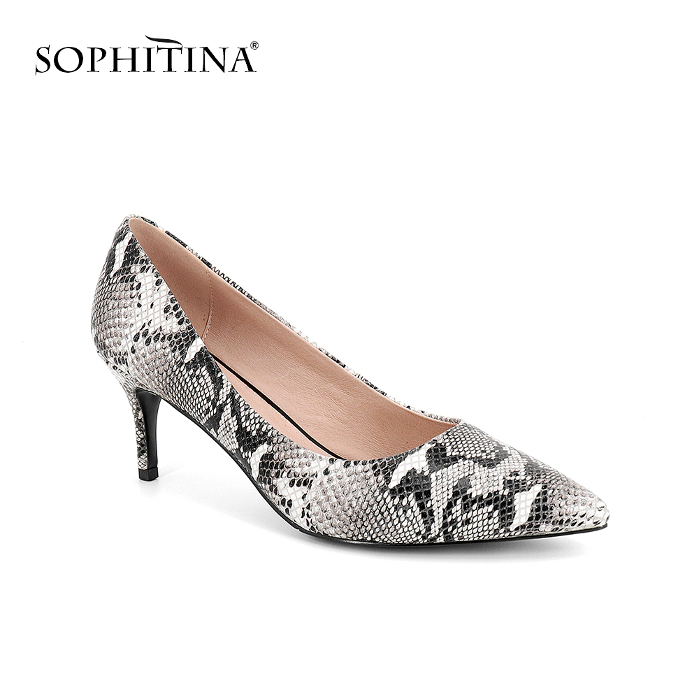 SOPHITINA 2019 Party Women s Pumps High Thin Heels Genuine Leather Slip On Pointed Toe Shoes