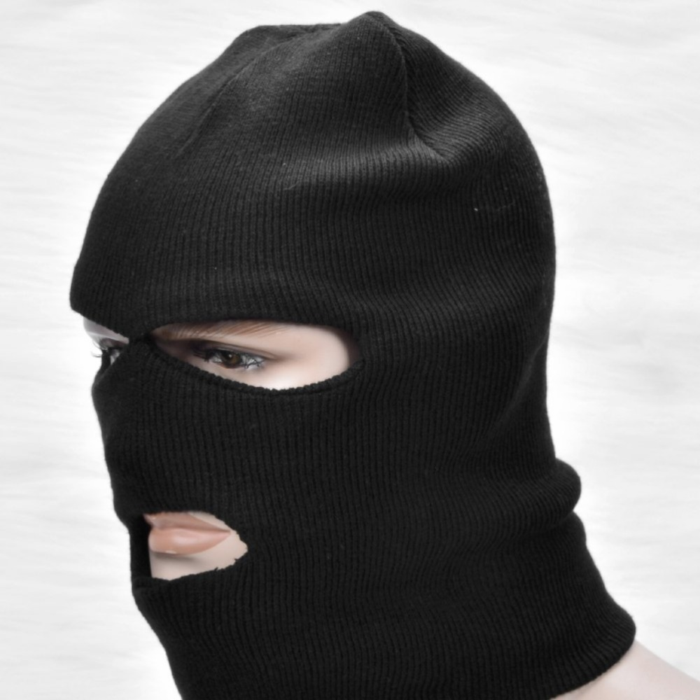 1x Black Balaclava Three Hole Neck Full Face Mask Pull Over Double ...