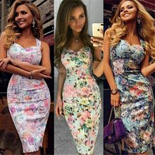 Fashion Womens Bandage Bodycon Dress Casual Floral Sling Summer Formal Business Stretch Dressess
