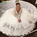 Lace V Neck Ball Gown Wedding Dresses Long Sleeves Princess Bridal Gown Custom Made long train Vetsidos De Noiva Casamento 2016