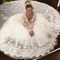 Rendas Pescoço V vestido de Baile Vestidos de Casamento Mangas Compridas Princesa vestido de Noiva Custom Made long train Vetsidos De Noiva Casamento 2016