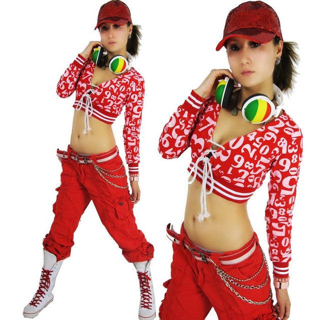 Nova moda hip hop Top dança Jazz feminino desgaste desempenho traje roupas fase Digital sexy Top curto bandagem