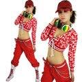 Nueva Moda hip hop superior femenina de danza Jazz desgaste del funcionamiento del traje Digitales ropa de la etapa sexy corto del vendaje Superior