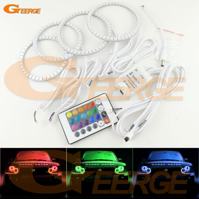 For Land Rover RANGE ROVER VOGUE 2006-2009 Xenon Headlight Excellent Multi-Color Ultra bright RGB LED Angel Eyes kit Halo Rings super bright led angel eyes for bmw x5 2000 to 2006 color shift headlight halo angel demon eyes rings kit