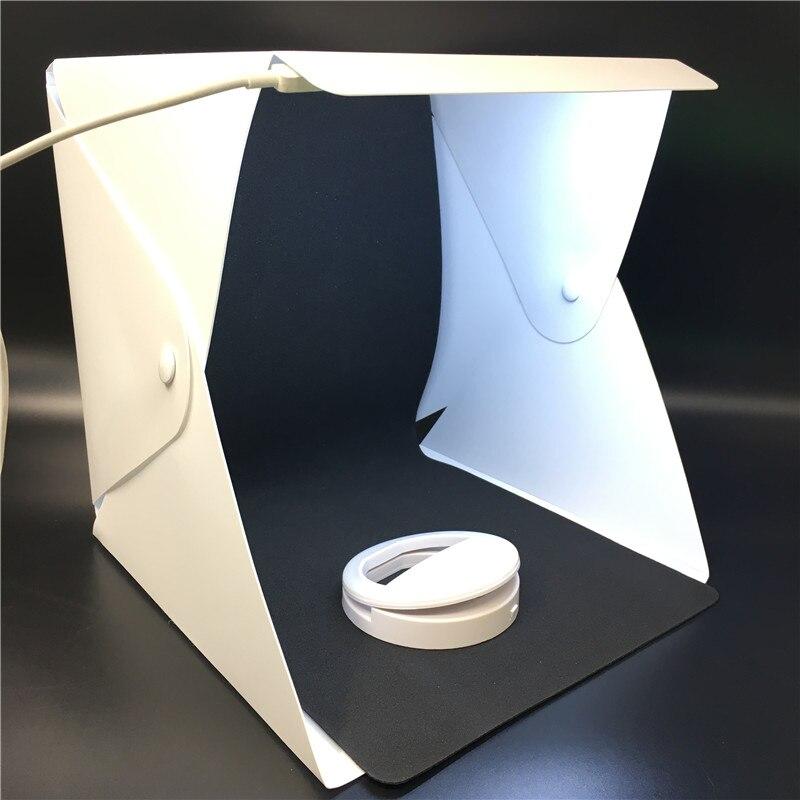 Lightbox portátil Mini Backgound LED Photo Studio Dobrável Fotografia caixa de Luz Softbox fotografia Tenda acessórios Kit para dslr