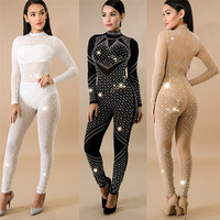 Plus Size Jumpsuits And Rompers For Women 2018 Sexy Polyester Skinny Solid Slim Hot Drilling Zipper