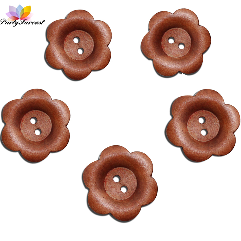 PF 20pcs Flowers Wooden Buttons 30mm 2 Holes DIY Sewing Crafts for Scrapbooking Brown Color Buttons for Clothes Skirts Bags