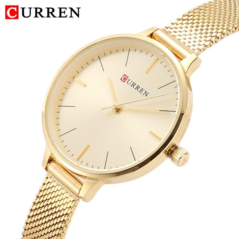 hot fashion quartz watch for women casual ladies watch free shipping waterproof elegant golden steel mesh band (10)