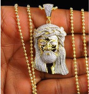 Image 1 - Colliers en gros jésus glacé pour hommes, colliers avec pendentifs en cz, chaîne, breloques, bijoux rappeurs
