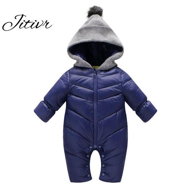 Новый 2016 Зимние Детские Snowsuit Мода С Капюшоном Куртка Вниз И Пиджаки Пальто Мужская Новорожденных Ползунки Снег Одежда Комбинезоны Одежда Outwears