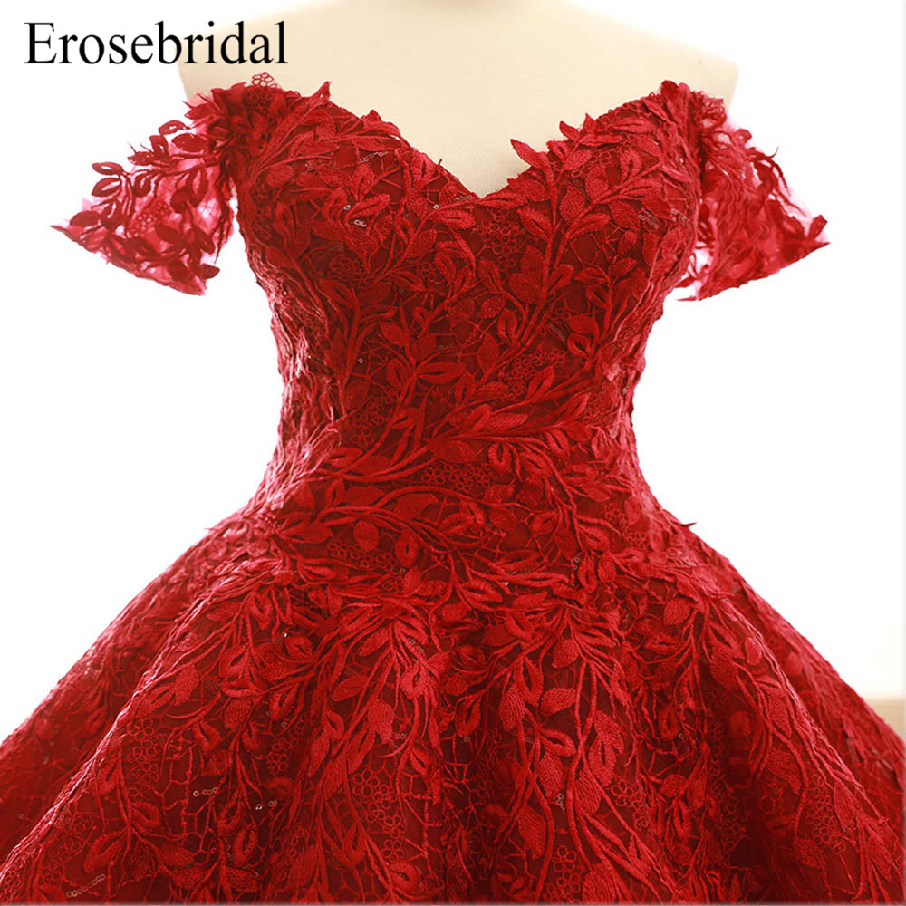 5393f3d8d5 2018 Red Lace Ball Gown Evening Dress Fancy Embroidery Appliques Evening  Gown Elegant Lace Up Back with Court Train Z6-263