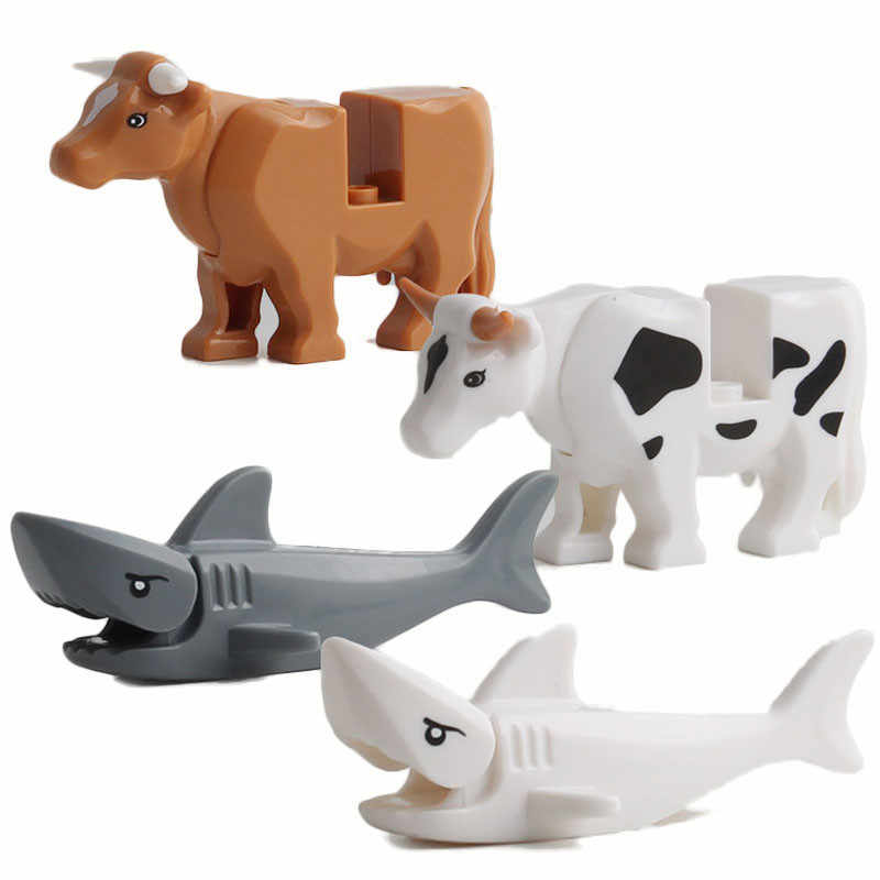 Serie de animales bebé muñecas cocodrilo leopardo vaca tiburón bloques de construcción juguetes de ladrillo para niños Compatible con zoológico