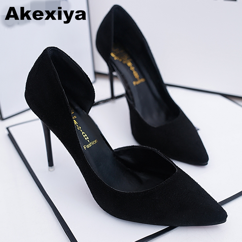 Akexiya 2017 Summer Women Shoes Pointed Toe Pumps Patent Dress Shoes High Heels Boat Wedding Shoes tenis feminino 10cm Two-Piece