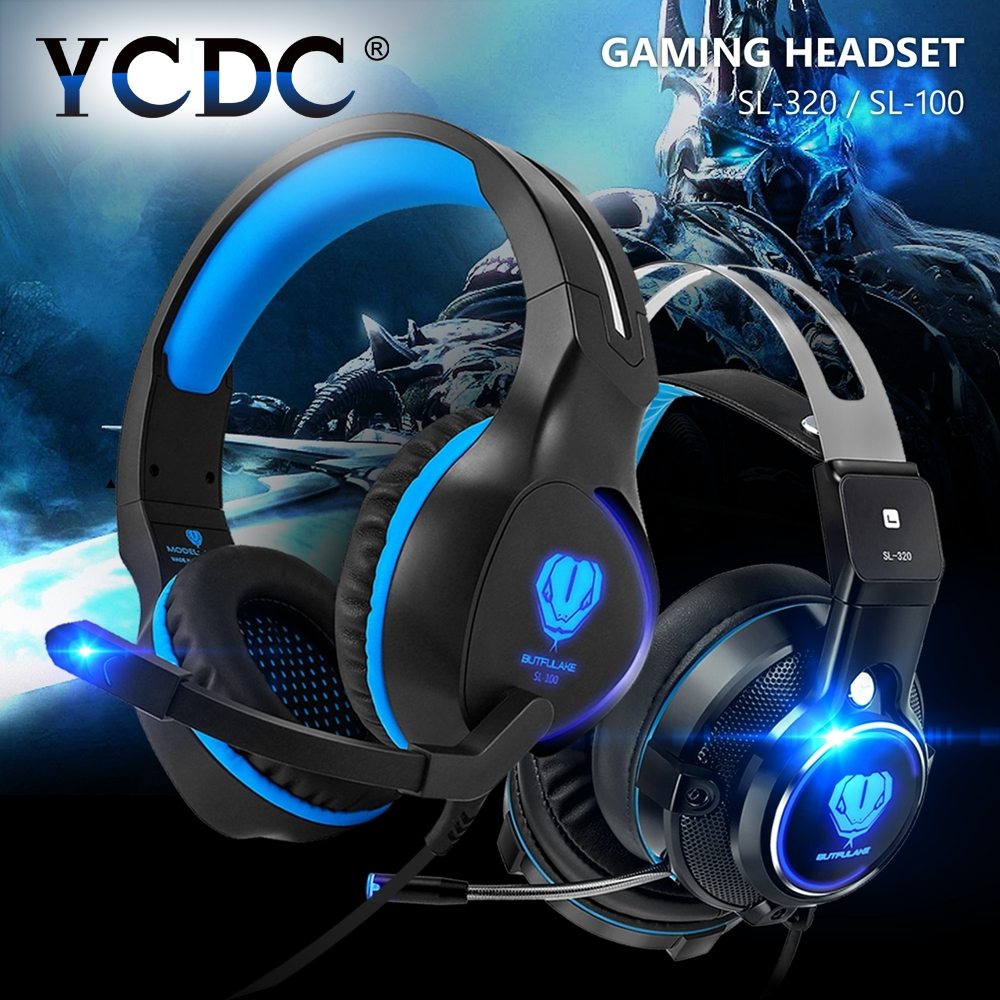 Cheap 1PC Stereo LED Earphones And Headphone With Mic Support Pro Gaming Headset For PS4 PC iPhone MP3 Laptop