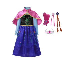VOGUEON Little Girl Anna Dress up Costume Children Flower Print Princess Party Cosplay Fancy Dress with Cloak for Halloween Gift