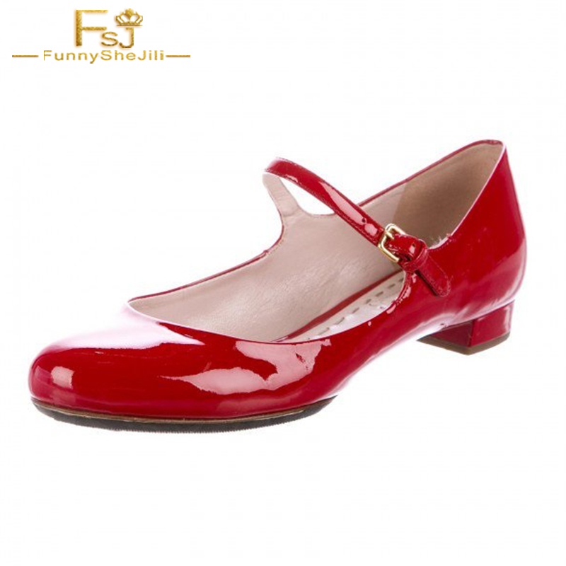 Red Patent Heel Vintage Mary Janes