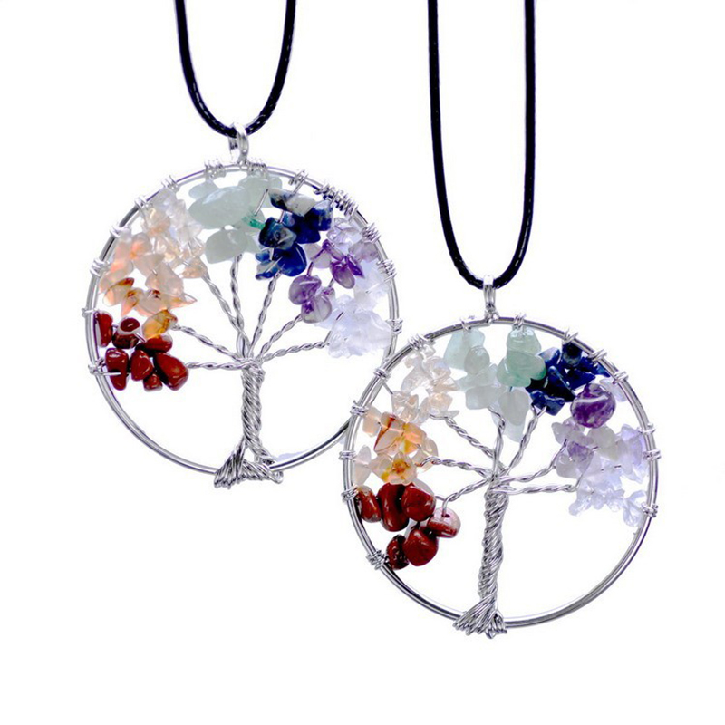 Qilmily 7 Chakra Tree Life Crystal Natural Stone Pendants Necklaces for Women Beads Quartz Birthstone Jewelry