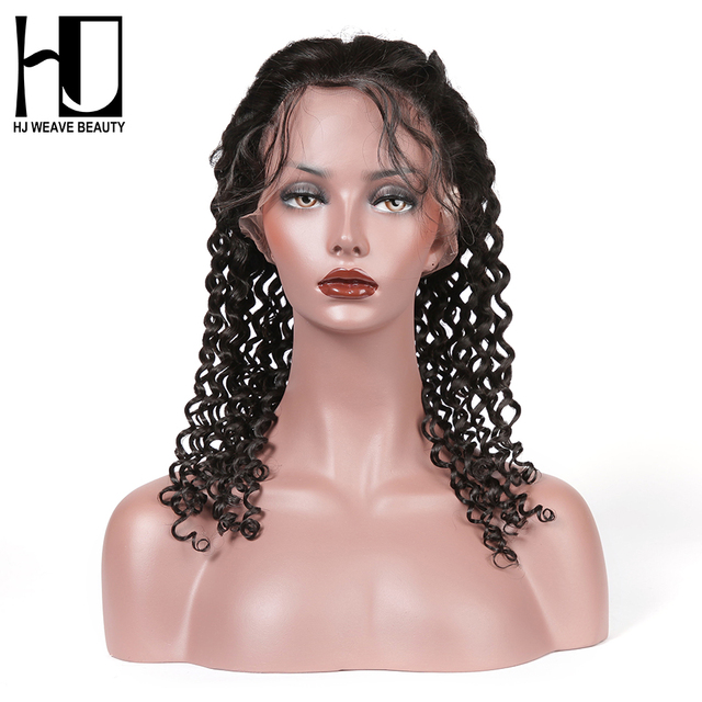 bdba1a4264a US $167.51 55% OFF|HJ WEAVE BEAUT Full Lace Human Hair Wigs Deep Wave 100%  Human Hair Wigs Peruvian Remy Hair Swiss Lace Free Shipping-in Human Hair  ...