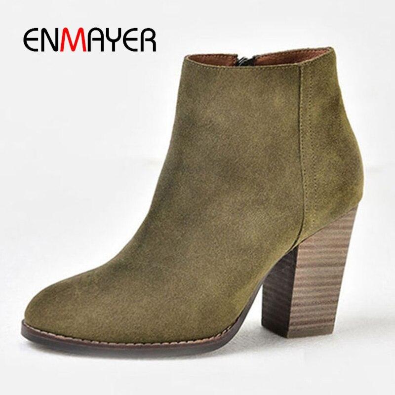ENMAYER  Round Toe  Super High (8cm-up)  Ankle Boots for Women  Cow Suede Winter Boots  Zapatos De Mujer Size34-40  ZYL1645ENMAYER  Round Toe  Super High (8cm-up)  Ankle Boots for Women  Cow Suede Winter Boots  Zapatos De Mujer Size34-40  ZYL1645