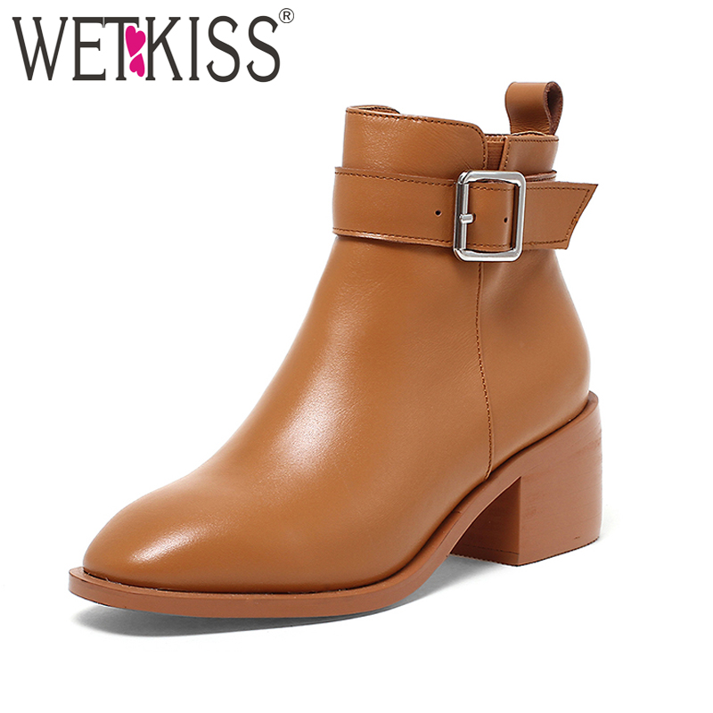 WETKISS Literary Style Full Genuine Leather Ankle Boots Women Square toe Zipper Square Heels Shoes Woman Buckle Strap Footwear wetkiss new arrival genuine leather female footwear leisure retro square toe mules slingback pumps low square heels shoes woman