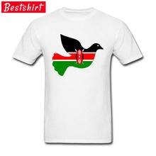 f438b03e12 Quênia Paz Pássaro Mapa Da Bandeira T Camisa Dos Homens Da Tripulação  Pescoço 100% Algodão Breathbale Tecido Tee Camisa Branca/A..