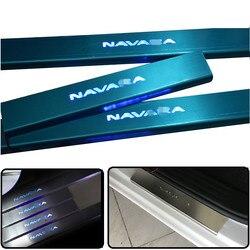 LED witamy światła nadające się do NISSAN NAVARA NP300 LED płyta chroniąca przed zarysowaniem drzwi osłony wejściowe pokrowce na NAVARA NP300 akcesoria samochodowe