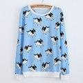 2017 Mujeres Del Otoño Del Resorte Con Capucha Sudaderas Cachorro de Impresión Del O-cuello Camisetas de Manga Larga Casual Sportsuit Algodón Azul/Rosa Pullover