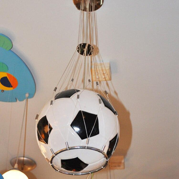 Frete grátis Foottball lâmpada pingente de luz bola de futebol crianças lâmpada do quarto de vidro pendurado luz Presentes de Natal para crianças presente do menino
