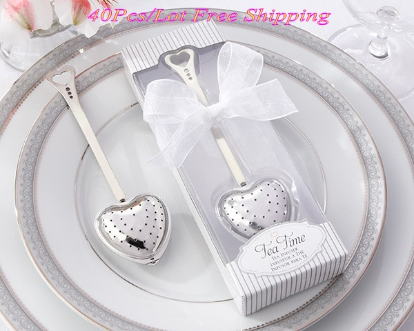 40 Pieces lot Simply Wedding gift for guest of Tea Time Love Heart tea Infuser