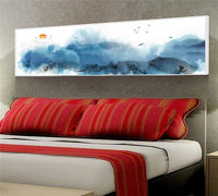YongHe Home Decorative Canvas Printing Chinese splash Ink Art Work Long Poster Watercolor Painting For Decorate Living Room