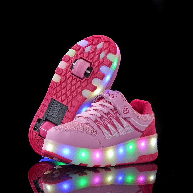 Boys Girl Roller Shoes LED Flashing 2 Wheels Roller Skate Shoes Flash Roller Skating Colorful Flashing Roller Skates Sneakers
