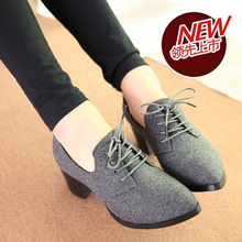 Cheap shoes women pointed high-heeled shoes lace heels Plaza pump casual shoes lace black gray 35-40