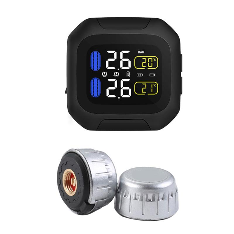 Motorcycle Tire Pressure Monitoring System 2 External Sensor Wireless Real Time Monitor Automobile Voiture TPMS Alarm System steelmate motorcycle tpms tire pressure monitor motorcycle alarm system waterproof external sensor wireless lcd display
