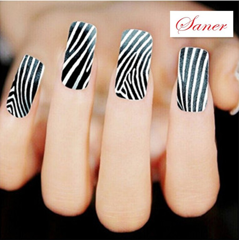 Water Transfer Nail Art Stickers Decal Classic Black White Stripes ...