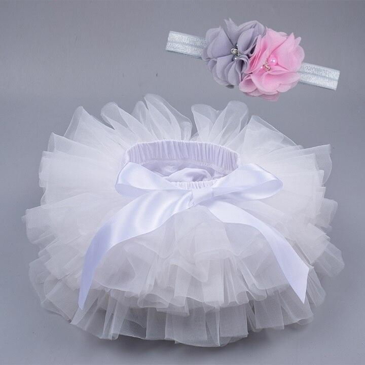 Юбка-пачка для маленьких девочек, комплект из 2 предметов, кружевные трусы из тюля, Одежда для новорожденных, Одежда для младенцев Mauv, повязка на голову с цветочным принтом, Детские сетчатые трусики - Цвет: white