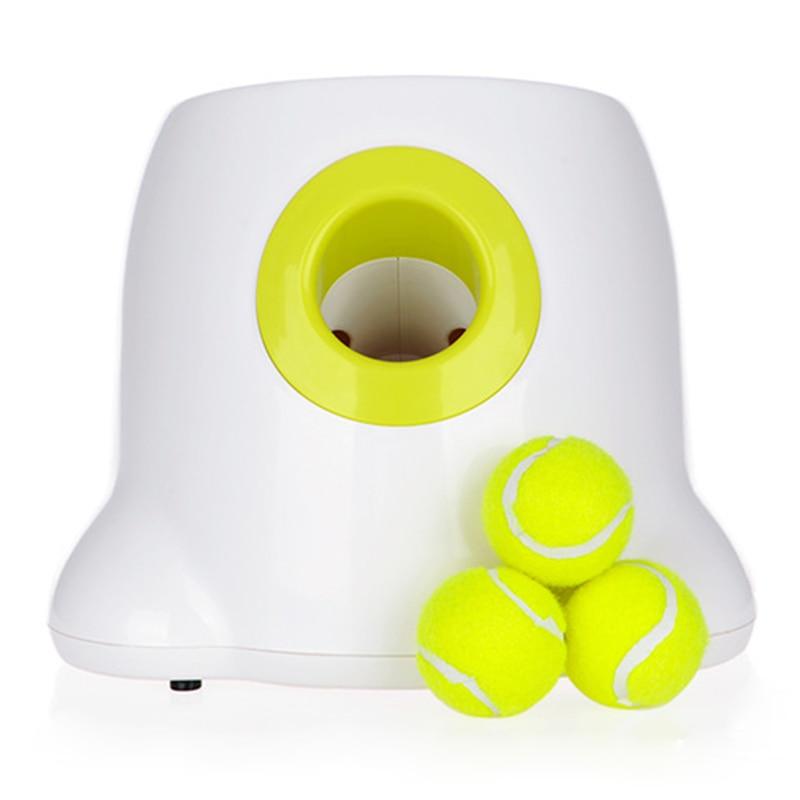 Offre spéciale chien jouets pour animaux de compagnie lanceur de Tennis Machine de lancer automatique Pet balle jeter dispositif Section émission avec 3 balles Us Plug