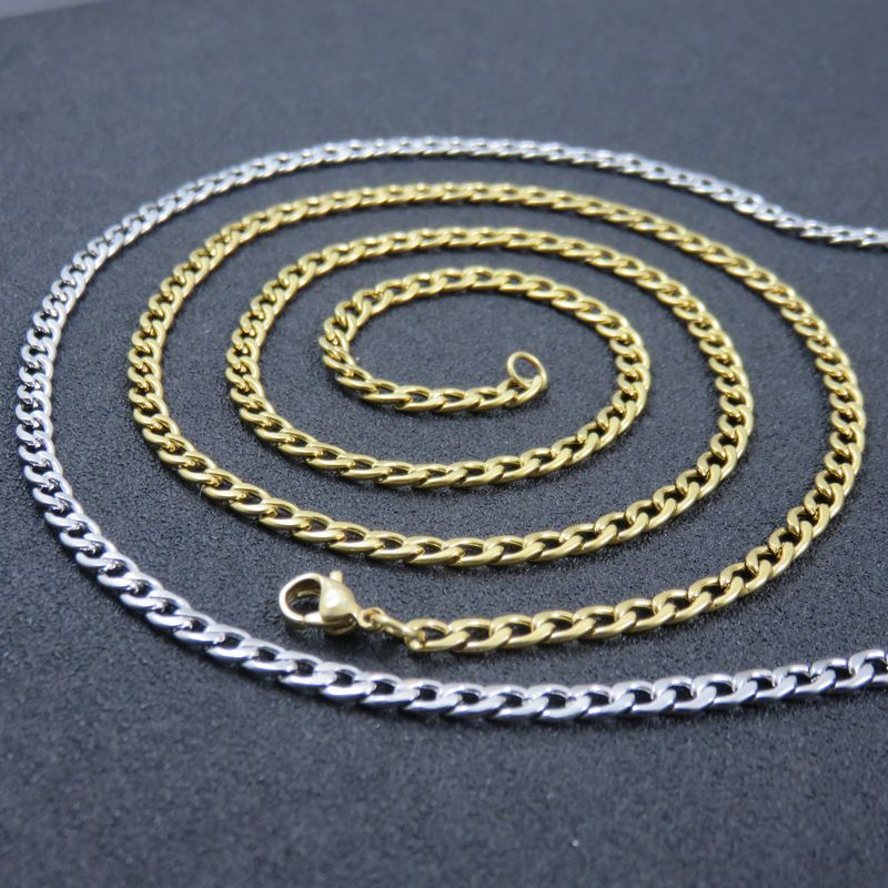 2-4mm Men Womens 316L Stainless Steel Silver Oval Curb Link Chain Necklace Gift
