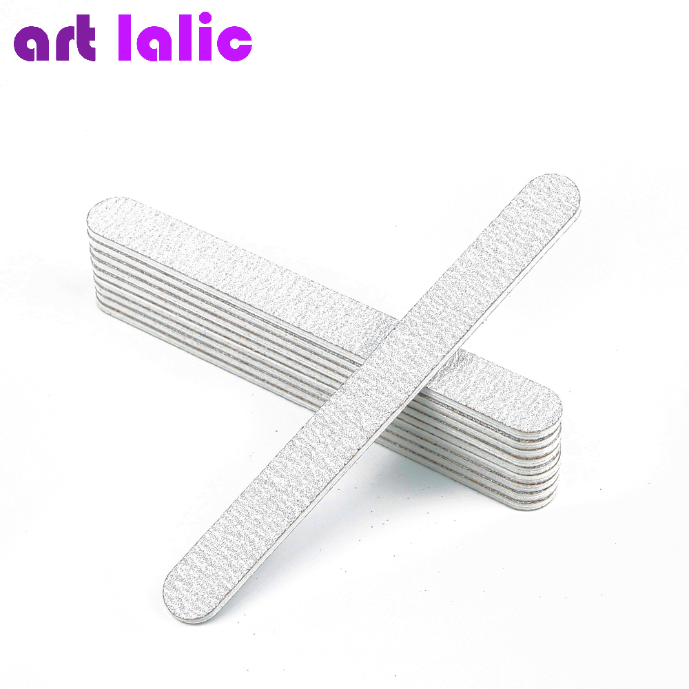 10 x Nail Files 100/180 Grey Round Nail Art Acrylic UV Gel Tips File Sanding Tools For Salon Pedicure Manicure Set