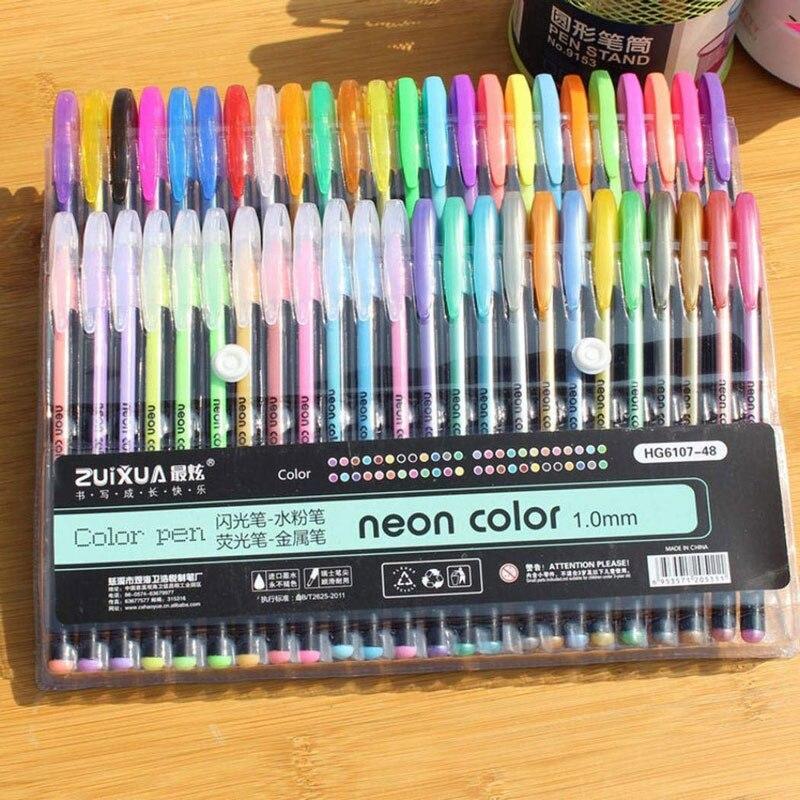 48 36 cor gel caneta conjunto recargas metalico pastel neon glitter esboco desenho cor caneta escola