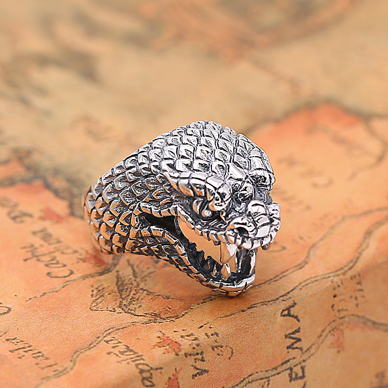 FNJ 925 Silver Ring Snake Head Punk New Fashion Jewelry S925 Sterling Silver Rings for Women