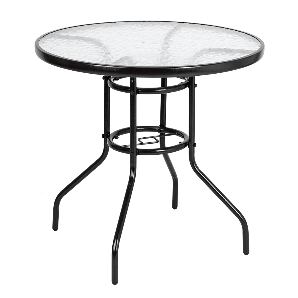 US Shipping Dining Table Round Toughened Glass Table Yard Garden Table Kitchen Living Room Breakfast Indoor Outdoor Furniture(China)