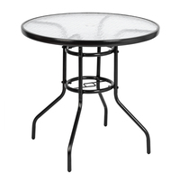 US Shipping Dining Table Round Toughened Glass Table Yard Garden Table Kitchen Living Room Breakfast Indoor Outdoor Furniture